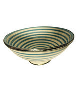 Moroccan Hand made Ceramic Bowl Silver Metal Trim Turquoise White Stripe... - $25.86
