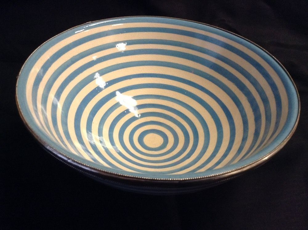 Moroccan Hand made Ceramic Bowl Silver Metal Trim Turquoise White Stripes XL
