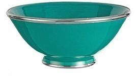 Moroccan Handmade Jade Turquoise Ceramic Bowl Silver Metal Trim - $664,12 MXN