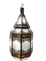 Moroccan Hanging Pendant Lantern Carved Brass F... - $98.99