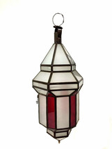Moroccan Hanging Pendant Lantern Red Stained & ... - $98.01