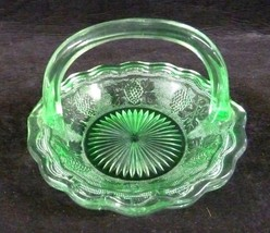 Green Grape Leaf Handled Glass Candy Basket Bowl Table side Vintage Collectible - $21.53