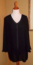 REBECCA JONES ~ 2X BLACK FLOUNCE BUTTON FRONT SHEER TUNIC BLOUSE TOP - $12.00