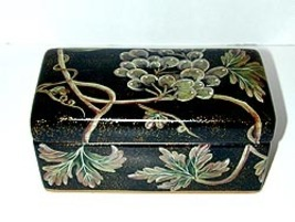 Black Earthenware Box with Leaf Lesign - $15.95