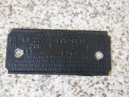1969 FIREBIRD COWL TAG BODY VERDORO GREEN BLACK... - $124.99