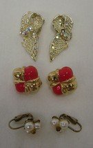 Lot of 3 Costume Pink Gold Rhinestone Bow Pearl Cluster Clip On Earrings Vintage - $29.37