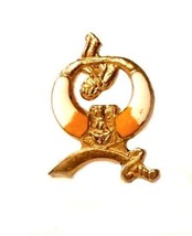 Mason Shriner's Sword Man Yellow White Gold Plated Lapel Brooch Pin Vintage - $29.67