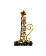 Multi Color Rhinestone Christmas Candle Holder Gold Tone Brooch Pin Vintage - $29.37