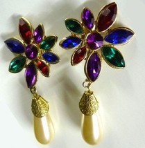 Multi Color Flower Dangle Clip On Back Earrings Costume Gold Plated Vintage - $19.37