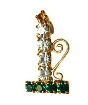 Multi Color Rhinestone Christmas Candle Holder Gold Tone Brooch Pin Vintage image 4