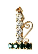 Multi Color Rhinestone Christmas Candle Holder Gold Tone Brooch Pin Vintage image 5