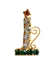 Multi Color Rhinestone Christmas Candle Holder Gold Tone Brooch Pin Vintage image 7