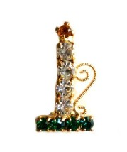 Multi Color Rhinestone Christmas Candle Holder Gold Tone Brooch Pin Vintage image 6
