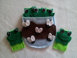 5 Speckled Frog finger puppets - $5.99