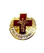 Phlebotomist Lapel Pin Cross Caduceus Gold Plated Medical Emblem Graduat... - $13.69