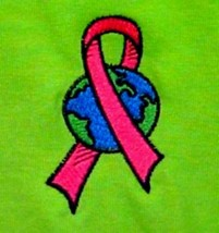 Pink Ribbon World T Shirt 2XL Breast Cancer Awareness Lime S/S Crew Neck New - $25.45