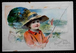 1891 antique LION COFFEE TRADE CARD summer fish... - $34.60