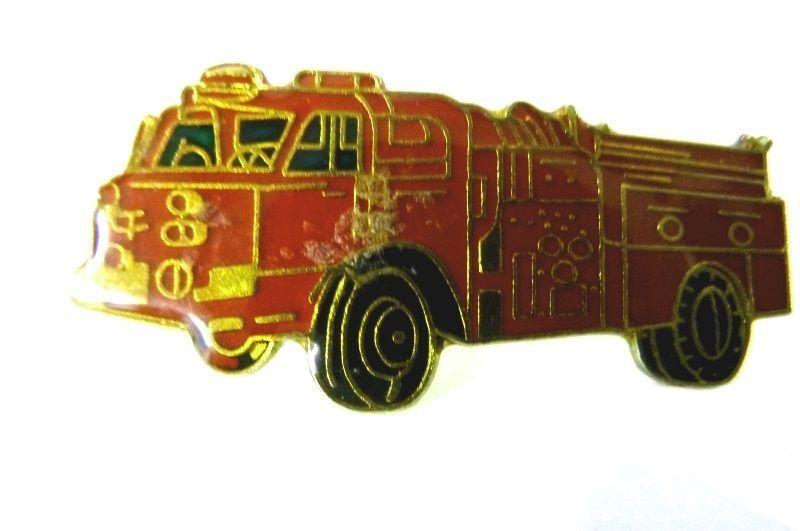 Red Fire Department Fire Truck Engine Gold Plate Emblem Lapel Pin Cap Tac