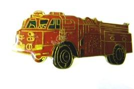 Red Fire Department Fire Truck Engine Gold Plate Emblem Lapel Pin Cap Tac image 1