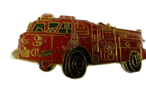 Red Fire Department Fire Truck Engine Gold Plate Emblem Lapel Pin Cap Tac image 3
