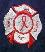 Red Ribbon T Shirt 2XL Awareness Maltese Cross Fire Dept Rescue Navy Blu... - $25.45