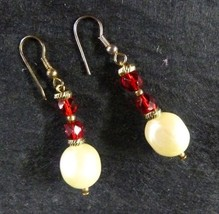 Red Rhinestone Pearl Piercing Pierced Earrings Costume Fashion Vintage - $14.52