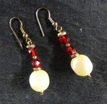 Red Rhinestone Pearl Piercing Pierced Earrings Costume Fashion Vintage - $14.67