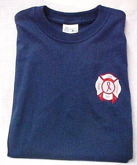 Red Ribbon T Shirt 2XL Awareness Maltese Cross Fire Dept Rescue Navy Blue New