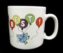 Russ Berrie & Co My Mom Is The Best Rainbow Bluebird Ceramic Coffee Mug - $24.22