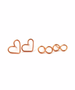 Copper Heart Stud Earrings, Copper Infinity Stud Earrings, Set of Two Studs - $19.90