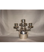 """Snowman Christmas 2 Candle Candlestick Holder Silver Plate Heavy 2lb 6"""" - $5.99"""