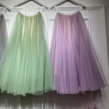 Sage Green Puffy Tulle Skirt Outfit High Waisted Midi Tulle Skirt Holiday Outfit image 11