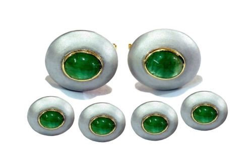 925 Sterling Silver Natural Fine Quality Emerald Gemstone Handmade Front Gold Pl