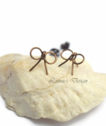 Antiqued Brass Bow Stud Earrings, Ribbon Studs  - $6.90