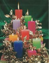 Vintage Christmas Card Colorful Candles Photo Gibson Christmas Sparkles - $6.92