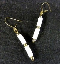 White Stone Gold Plated Earrings Bead Dangle Pierced Fashion Costume Vintage - $19.57