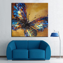 Hand-painted Abstract Beautiful Blue Butterfly ... - $44.44