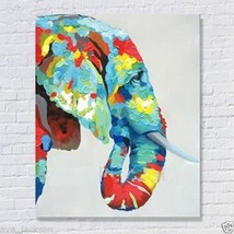 Hand-painted elephant modern abstract art animal oil painting on canvas - $43.55