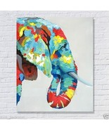 Hand-painted elephant modern abstract art animal oil painting on canvas - $59.23 CAD
