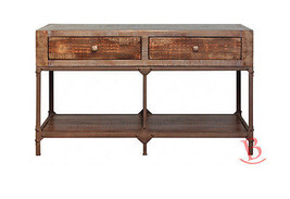 Gabriel Sofa Table Hardwood Iron Detail Rustic Cabin Lodge Console TV Stand - $519.75