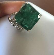 New Designer Huge 16+ carat Zambian Emerald, Diamond & 14k white gold ri... - $3,699.99