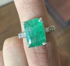 New Designer Huge 8+ carat Zambian Emerald, Diamond white 14k gold ring ... - $2,750.00