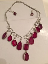 New Rare Fabulous Multi drop Crystal & 260+ carat Ruby SS necklace & ear... - $9,499.99