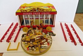Fisher Price Big Performing Circus Wagon #900 vintage wooden 10 figures ... - $44.99