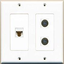 RiteAV - 2 Port S-Video 1 Port Cat6 Ethernet White - 2 Gang Wall Plate - $22.76
