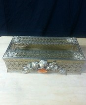 Antique Vintage Steel Tissue Box Holder Gold Colored With Roses - $37.40