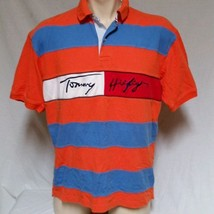 VTG Tommy Hilfiger Polo Shirt Flag Spell Out Colorblock 90's Mens XL - $39.59