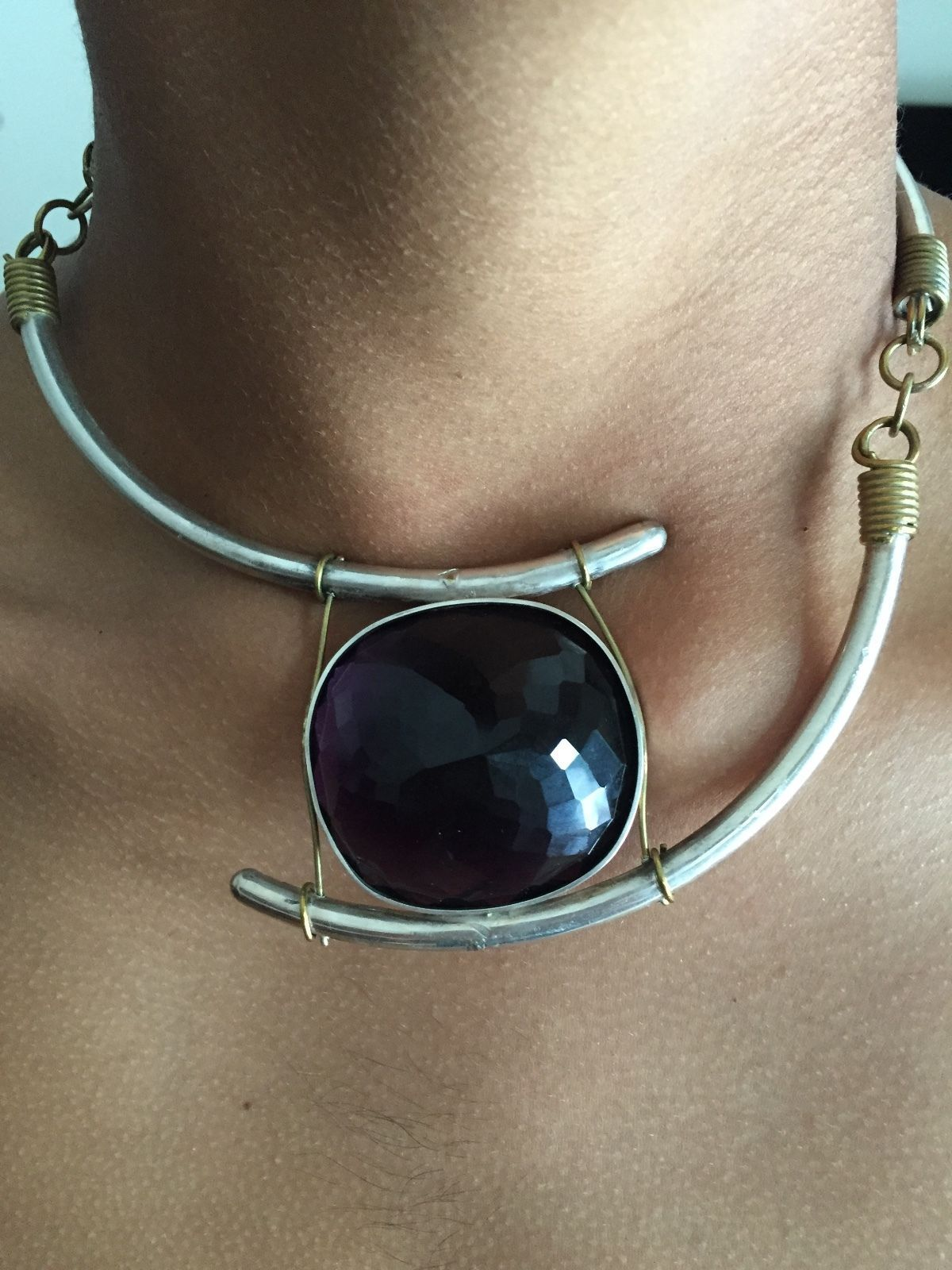 Huge Custom Vintage Art deco 155+ Carat amethyst Silver necklace Choker 15-17 in