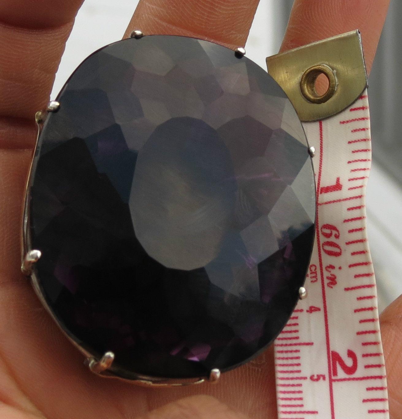 Huge Estate custom over 200+ carat Quartz amethyst 14k gold & SS ring 7.5