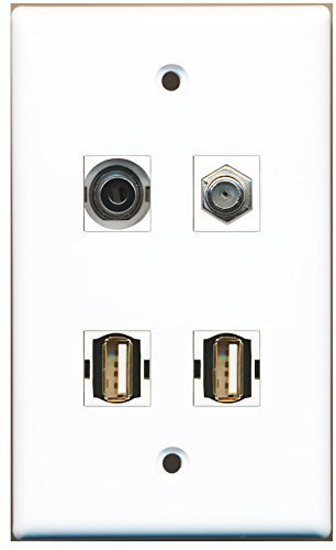 RiteAV - 1 Port Coax Cable TV- F-Type 2 Port USB A-A 1 Port 3.5mm Wall Plate